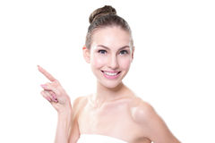 Skin care woman showing copy space Stock Photo