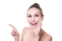 Skin care woman showing copy space Royalty Free Stock Photography
