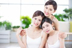 Skin care women smile happily. Skin care asian women smile happily to you royalty free stock images