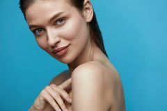 Skin Care. Young Woman With Beauty Face. Without Makeup And Wet Hair. High Quality Royalty Free Stock Photography