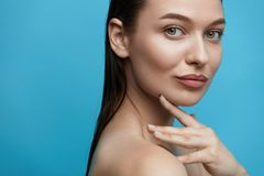 Skin Care. Young Woman With Beauty Face. Without Makeup And Wet Hair. High Quality Royalty Free Stock Photos