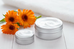 Skin cleansing cosmetic cream with calendula flowers vitamin spa lotion. Natural organic herbal moisturizer product. Medical dermatology anti aging, acne Stock Photography