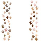 Skin color diversity concept. Social, national, racial issues symbols. Hand prints, human palms - friendship concept. Hands border, palms frame isolated vector vector illustration
