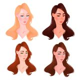 Set of Beautiful woman face color type. vector illustration