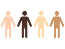 Skin colors. Four pictograms of human figures with different skin color Stock Photo