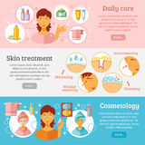 Skin Cosmetology Banners Set Royalty Free Stock Image