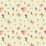 Skin cozzy cartoon valentine pattern. Skin cute cartoon valentine pattern with different elements about love Stock Image