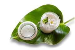 Skin cream and beauty flower Stock Photos