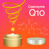Skin Cream with Coenzyme Q10. Chemical Formula. Royalty Free Stock Image