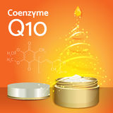 Skin Cream with Coenzyme Q10. Chemical Formula. Stock Photos