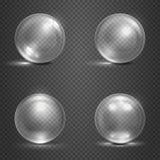 Skin 3D glass sfärer, magibollar, den crystal orbsvektoruppsättningen royaltyfri illustrationer