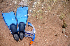 Skin diving gear lying on a beach Royalty Free Stock Photos