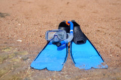Skin diving gear lying ready on the beach Royalty Free Stock Photo