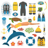 Skin Diving and Snorkeling Set. Snorkeling set of elements. Snorkeler man with snorkel mask, sea life objects and scuba accessories. Skin diving icons. Summer Stock Photo