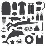 Skin Diving and Snorkeling Silhouette Set. Snorkeling set of outline elements. Snorkeler man silhouette with snorkel mask, sea life objects and scuba accessories Stock Photo