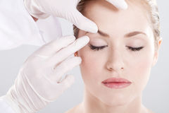 Skin examination. Before plastic surgery stock image