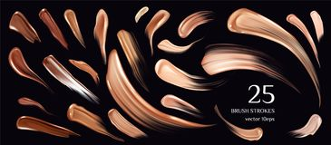 Skin foundation brush strokes collection. Smears vector illustration