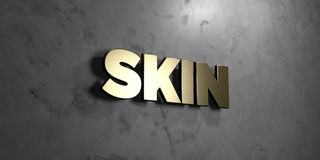 Skin - Gold sign mounted on glossy marble wall - 3D rendered royalty free stock illustration. This image can be used for an online website banner ad or a print royalty free illustration