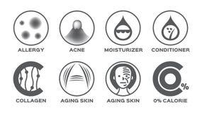 Skin icon set / allergy acne moisturizer hair conditioner collagen aging 0% calorie stock illustration