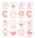 Skin icon set vector / allergy acne moisturizer hair conditioner collagen aging 0% calorie tone young chemical dry healthy cell we. Skin icon set / allergy acne stock illustration