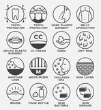 Skin icon vector set / lotion and body Royalty Free Stock Photos