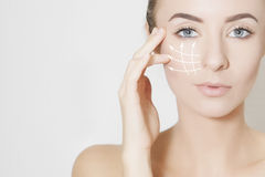 Skin lifting, beauty concept stock photography