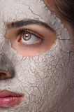 Skin Mask Treatment Spa. Vertical photo of clay skin mask treatment on a young beautiful female face close-up Royalty Free Stock Photos