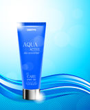 Skin moisturizer cosmetic ads template. With blue realistic bottle on wavy dynamic light lines background. Vector illustration stock illustration