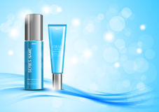 Skin moisturizer cosmetic ads template. With blue realistic bottles on wavy soft bright curved blurred lines background. Vector illustration vector illustration