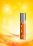Skin moisturizer cosmetic ads template. With orange realistic bottle on soft wavy dynamic bright lines background. Vector illustration royalty free illustration