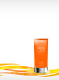 Skin moisturizer cosmetic ads template. With orange realistic container on light wavy dynamic curved lines background. Vector illustration vector illustration