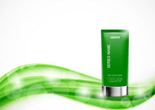Skin moisturizer cosmetic design template. With green realistic bottle on light soft wavy dynamic lines background. Vector illustration stock illustration