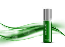 Skin moisturizer cosmetic design template. With green realistic package on wavy soft bright dynamic smooth lines background. Vector illustration royalty free illustration