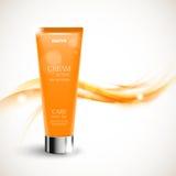 Skin moisturizer cosmetic design template. With orange realistic bottle on soft smoky curved bright elegant light lines background. Vector illustration royalty free illustration