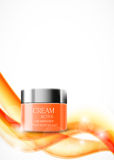 Skin moisturizer cosmetic design template. With orange realistic container on soft curved dynamic light lines background. Vector illustration stock illustration