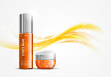 Skin moisturizer cosmetic design template. With orange realistic packages on wavy dynamic soft light lines background. Vector illustration royalty free illustration