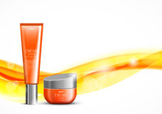 Skin moisturizer cosmetic design template. With orange realistic packages on wavy soft bright dynamic smooth lines background. Vector illustration stock illustration