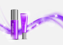 Skin moisturizer cosmetic design template. With purple realistic packages on light wavy soft dynamic lines background. Vector illustration vector illustration