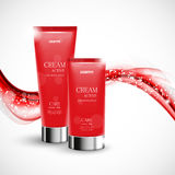 Skin moisturizer cosmetic design template. With two red realistic bottles on soft wavy curved elegant shiny lines background. Vector illustration royalty free illustration