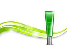 Skin moisturizer cosmetic light design template. With green realistic plastic package on wavy elegant shiny dynamic lines and halftone background. Vector vector illustration