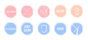Skin pastel icon  / sheild acne skin moisturizer hair collagen protection Royalty Free Stock Images
