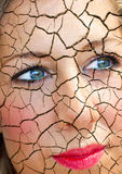 Skin problem. Young woman with cracks in her face - beauty and health concept Royalty Free Stock Image