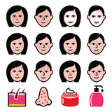 Skin problems - acne, spots treatment icons set Stock Image