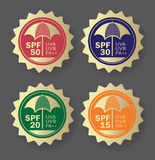 Skin protection badges. SPF, UV. Skin protection badges.  Skincare lotion, ointment, cream sticker Stock Image