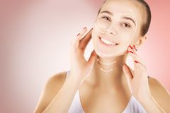 Skin renovating, portrait with empty space over pink background royalty free stock photography