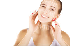 Skin renovating, portrait with empty space over white Royalty Free Stock Image