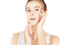 Skin renovating, portrait with empty space over white Stock Image
