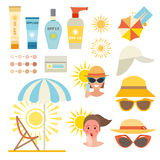 Skin sun protection cancer body prevention infographic vector icons Royalty Free Stock Image