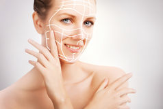 Skin surgery - woman portrait with surgery marks Royalty Free Stock Image