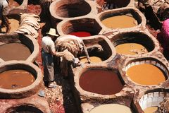 Skin tanneries in Fess medina stock images